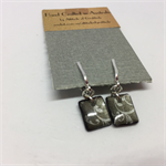 Clip On Earrings - Two Toned Grey Rectangles FREE POSTAGE