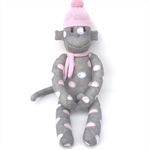 'Molly' the Sock Monkey - grey with pink & white spots - *READY TO POST*
