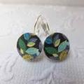 Leaf Print Earrings- silver or bronze earring hooks (nickel free)