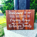 Personalised Family Welcome Wood Sign, Custom made with family, names & date