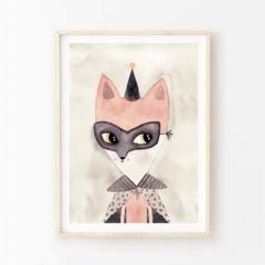 Indi fox - Children's art. Watercolour fox wearing mask and cape. A4 Print
