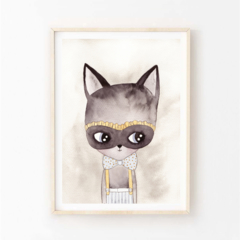 Benji Cat - Children's art. Watercolour cat wearing mask and bow tie. A4 Print