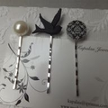 Black and White Trio of Hairclips - three silver hair clips