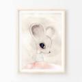 Lina Mouse - Children's art. Watercolour ballerina mouse with tutu. A4 Print