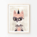 Indi fox - Children's art. Watercolour fox wearing mask and cape. A4 Print