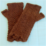 Fingerless Mitts Lacy Natural Colour Brown Alpaca No Dye