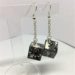 Black Flowers Cube Earrings Free Postage