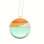 Tasmanian Myrtle Pendant - Mint & Silver Glitter