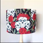 Roses and Skulls Lampshade | Handmade in Australia | Fabric Lamp Shade