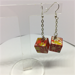 Red with Flowers Cube Earrings Free Postage