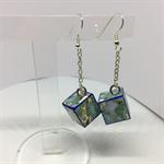 Blue Flowers Cube Earrings Free Postage