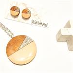 Tasmanian Myrtle Earrings & Pendant Set - Peach & Silver Glitter Set