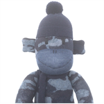'Miller' the Sock Monkey - blue camo - *READY TO POST*