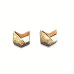 Tasmanian Myrtle Chevron Earrings - White & Gold Glitter