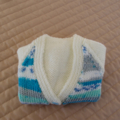 3-9mths - Hand knitted cardigan in Cream & multi colours: unisex, washable, OOAK