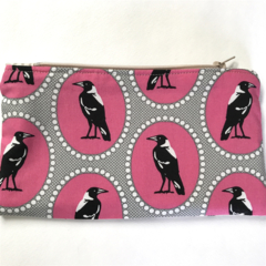 Zip Pouch Iconic Melbourne and Magpie Bird fabric