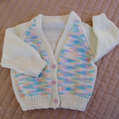 SIZE 6-12 mths - Hand knitted cardigan in Cream & multi color by CuddleCorner