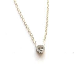 CLOSING DOWN SALE Modern Minimal Dainty Skull Sterling Silver Necklace