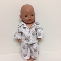 Dolls/Teddies Winter Pajamas with Matching Dressing Gown