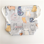 Super Cute cat print Drawstring bag, cotton bag, knitting project bag.