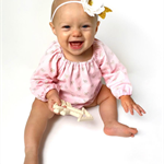 Blush gold bows Long Sleeve Romper Playsuit