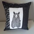 Woodland cushion/black and white decor
