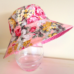 Girls summer hat in pink and grey floral fabric