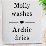 Personalised 'Washes Dries' Linen Tea Towel in Off White