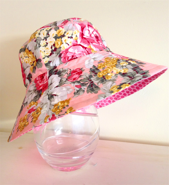 16853c5af56 Girls summer hat in pink and grey floral fabric