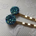 Peacock Blue Green Faux Druzy Resin Hairclips - Two hair clips
