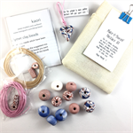 Make it yourself necklace gift kit-handcrafted polymer clay beads-rose gold/blue