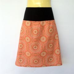 Retro Pink Geometric Floral Print A Line Skirt - ladies sizes 8 - 18 flower
