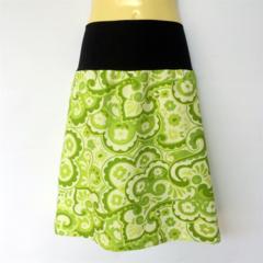 Retro Green Paisley Print A Line Skirt - ladies sizes 8 - 18 floral, flower, 60s