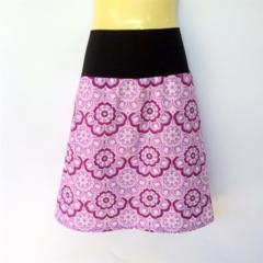 Retro Purple Flower Print A Line Skirt - ladies sizes 8 - 18 daisy, paisley, 60s