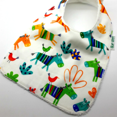 Baby Bib Donkey Cotton Fabric, Bamboo Toweling, Snap Fastened.