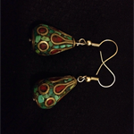 Moroccan Turquoise and Deep Red Dangling Earrings