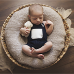 Newborn Overalls / Photography Prop / Navy with Cream
