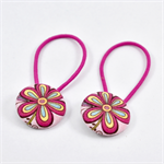 Button Hair Ties - Pink Flower