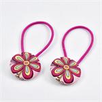 Button Hair Ties - Pink Flower