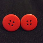 Red Button Stud Earrings