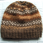Fair Isle Beanie Unisex Handspun Natural Fibre Dye Free Brown