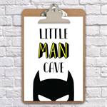 A4 clipboard little man cave batman inspired print, art, nursery, wall decor