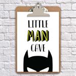 little man cave batman inspired print, art, nursery, clipboard art, wall decor