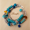 Three Strands Bracelet - Turquoise - Mix Stones - Adjustable Length - B027