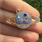 Gold Plated Polymer Clay and UV Resin Kawaii Planet Bezel