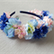 Floral Head Band - Blue & Pink Flowers, Floral Alice Band. Flower-girl Flowers
