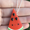 Kawaii Watermelon Handmade Polymer Clay Charm On Sterling Silver Necklace Chain