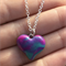 Kawaii Galaxy Heart Handmade Polymer Clay Charm With Sterling Silver Necklace