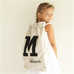 Kids Letter Backpack - Stone and Black