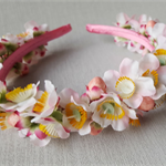 Floral Head Band - Pink Geraldton Wax Flowers on Alice Band. Flower-girl Flowers